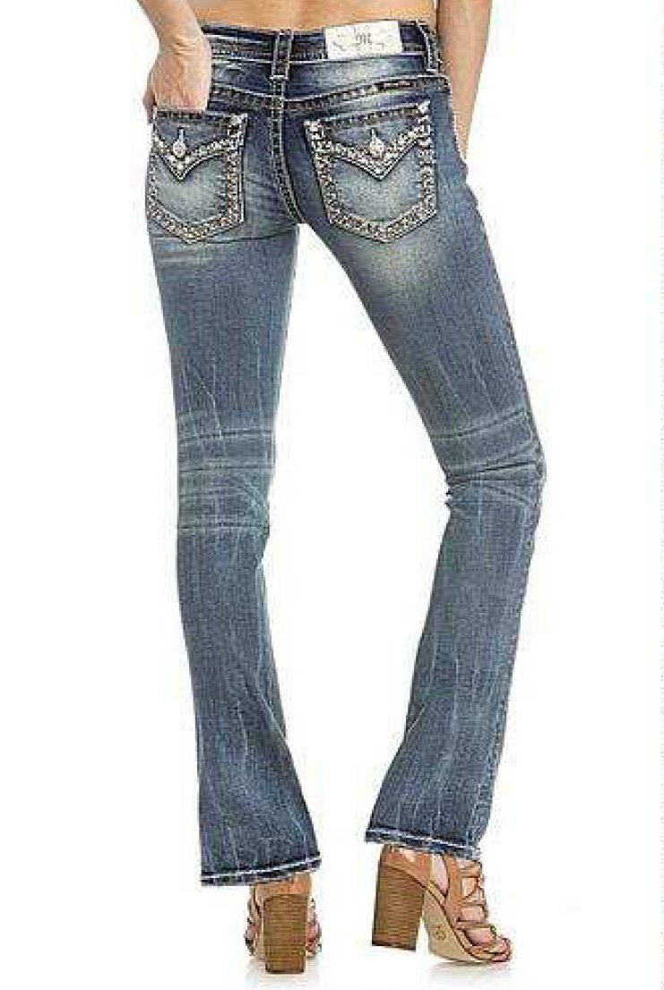 Miss Me Women's Embroidered Border Bootcut Jeans (Medium Blue, 28)