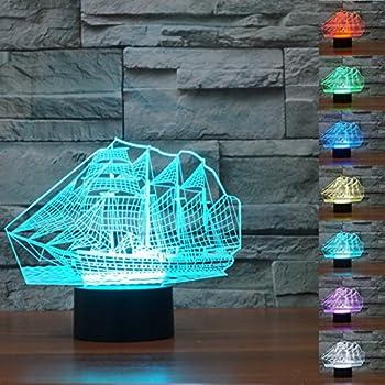 Amazon.com: Lámpara de mesa LED de 7 colores con forma de ...