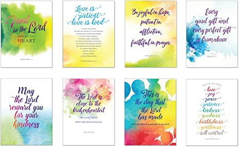 All Occasion Simple Scripture Greeting Cards w Envelopes 8 Inspirational Bible Verse Blank Note Cards Birthday Thank You Sympathy Thinking of