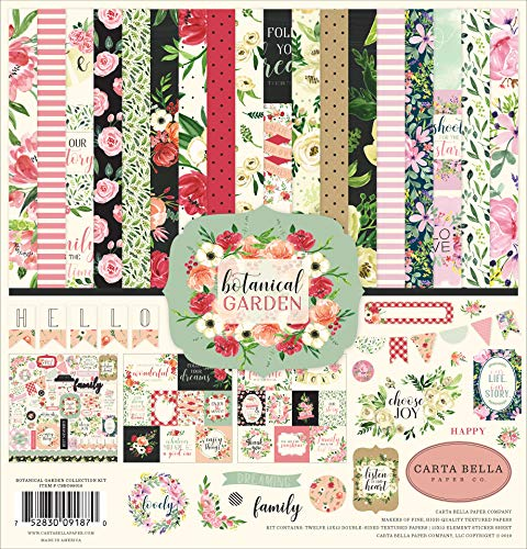 Carta Bella Paper Company CBBO98016 Botanical Garden Collection Kit Paper, Pink, Green, Black, red, -