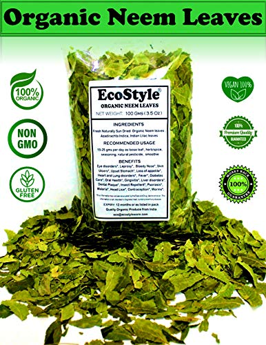 Ecostyle | Organic Neem Leaves | Dried Whole Leaf | Premium Quality | 3.5 Oz (100gm) | Margosa Herb | Shade Dried | Herbal Supplement | Natural Detox | Anti-Bacterial | Non-GMO | Pure Wild Harvest !