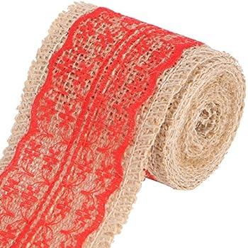 Cinta roja del Color decoración eDealMax Yute Fibra Hogar cordón de arpillera Rollo