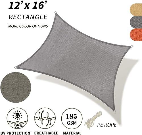 REPUBLIC SUN Sun Shade Sail Rectangle Canopy – Permeable UV Block Fabric Durable Outdoor 12 x 16 , Grey