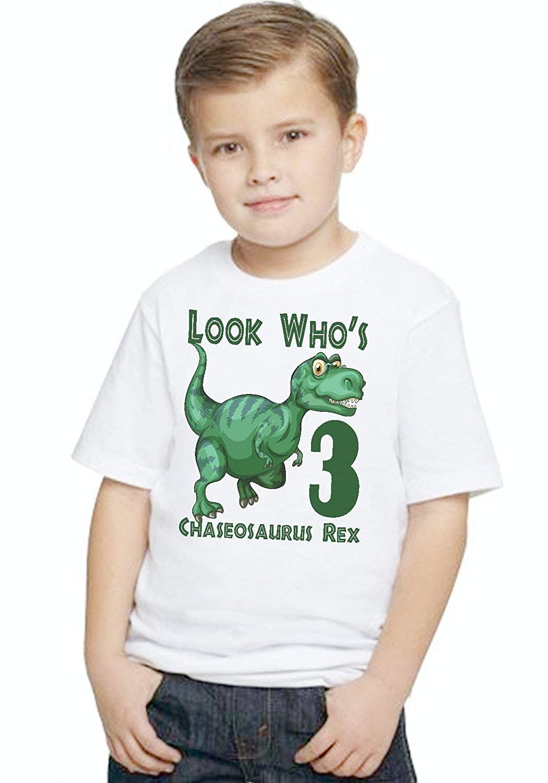 Dinosaur REX Dino Boys Personalized Birthday Look Whos T Shirt TEE Custom NAME AGE Gift