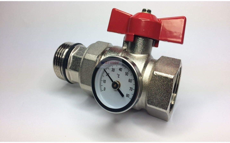 Valvola a sfera rossa e misuratore di temperatura per i collettori di riscaldamento a pavimento