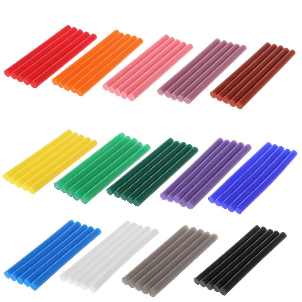 Mentin Lot de 5 Bâton de Colle Chaude Coloré 7 x100mm Colle Thermofusible Couleur Paillette pour Décoration Créative DIY (Orange)