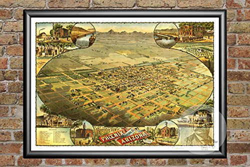 Ted's Vintage Art Phoenix Arizona 1885 Map Wall Art Print |