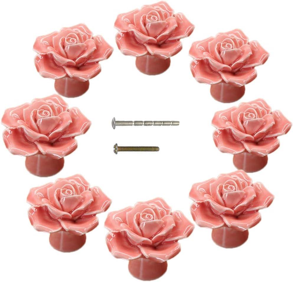 Knobs, 8Pcs Rose Flower Ceramic Vintage Pulls Kitchen Cabinet Dressing Table Dresser Handles for Girl's Room Dresser Cupboard Wardrobe with Break-Away Screws (8, Pink)