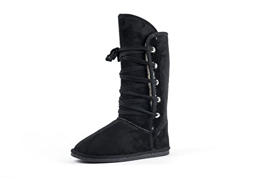 Women Cotton Lace Faux Fur Lined Shearling Winter Boots