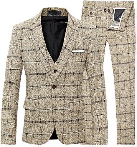 スーツ メンズ スリーピーススーツ スーツセットアップ ベスト付き チェック柄 スリム 1ボタン ビジネススーツ スリムスーツ 紳士服 結婚式 二次会 就職