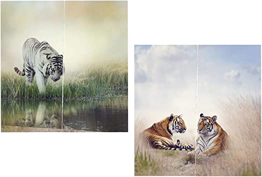 LOVIVER 2 Sets Tiger Printed 3D Nature Animal Curtain Blackout Window Door Drapes