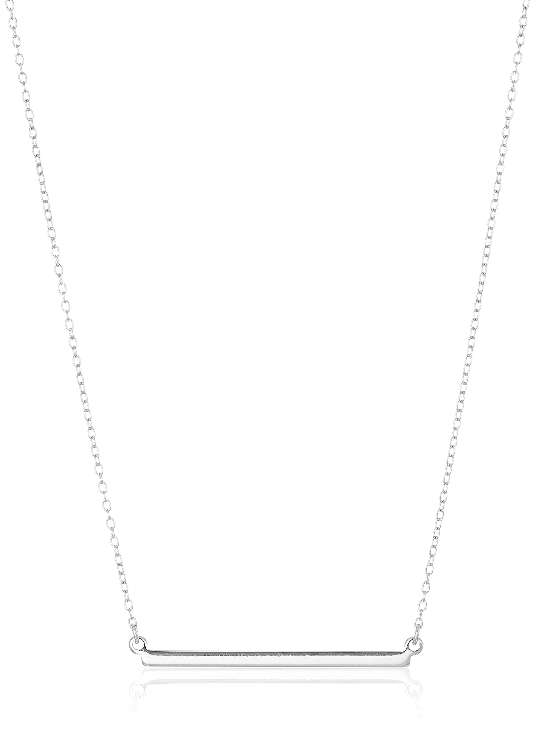 Sterling Silver Horizontal Bar Necklace, 18'' by Amazon Collection
