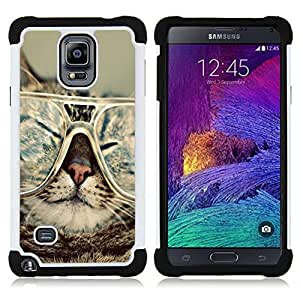 GIFT CHOICE / Defensor Cubierta de protección completa Flexible TPU Silicona + Duro PC Estuche protector Cáscara Funda Caso / Combo Case for Samsung Galaxy Note 4 SM-N910 // Cat Glasses Slpeeping Funny Portrait Art //