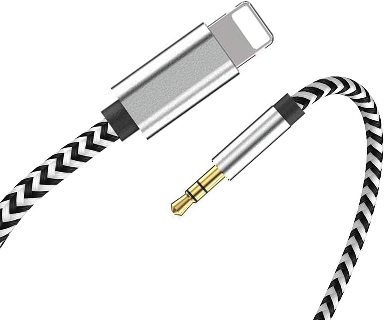 [Apple MFi Certified] iPhone AUX Cord for Car,Lightning to 3.5mm AUX Audio Nylon Braided Cable Compatible with iPhone 11/XS/XR/X 8 7,iPad,iPod to Speaker,Car/Home Stereo,Headphone (Silver)