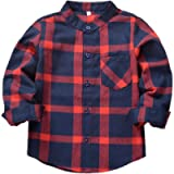 Kantenia Toddlers Baby Boys Girls Clothes Gentleman Outfit Red Plaid Flannel Formal Shirt with Button Down Kids Outfit 2…
