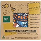 Beeswax Food Wraps 2 x Large Pack By Bee Wrappy Washable And Reusable Alternative To Single Use Plastic Wrap/Saran Wrap. Reusable Sandwich Wrap For Reusable Lunchboxes. Container And Cover For Food. Australian Made. Contains 2 Large (34cm X 34cm)