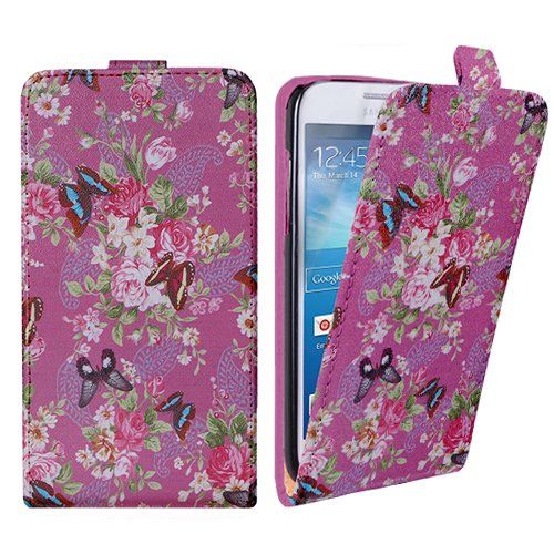 Xtra-Funky Exclusivo Cuero estilo del tirón cubierta de la caja de la carpeta con estilo hermosa flor azul florales y mariposas Diseños para Samsung Galaxy S4 Mini (i9190) - Diseño B28 B30