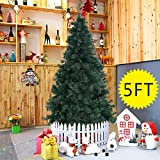 Goplus 5 Artificial Christmas Tree Spruce Hinged w/ Metal Stand for Indoor and Outdoor, Green