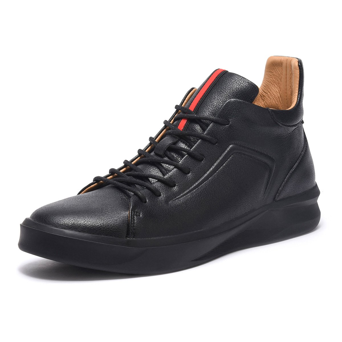 ARTISURE Men's Classic Black Genuine Leather High-Top Casual Sneakers Fashion Ankle Boots 10 M US SKS-1019HEI100