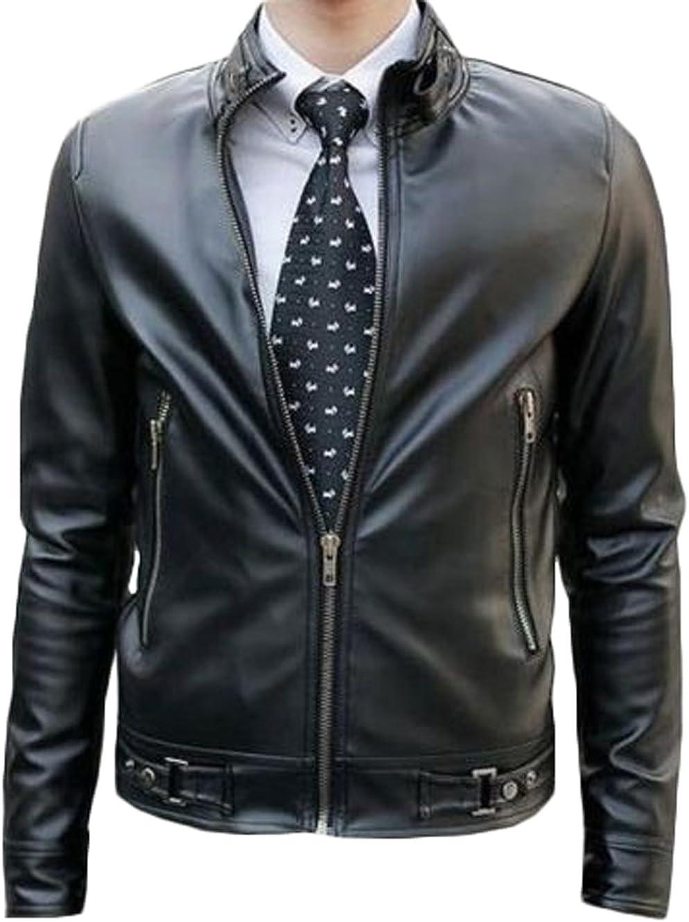 Men Leather Jacket New Soft Lambskin Slim Biker Bomber Coat T1335