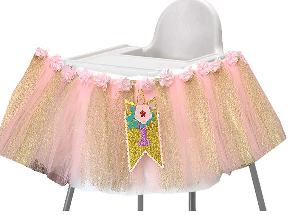 Alemon Blue 1st Birthday Boy Baby High Chair Tutu Decoration and ONE Pennant Party Supplies for Highchair