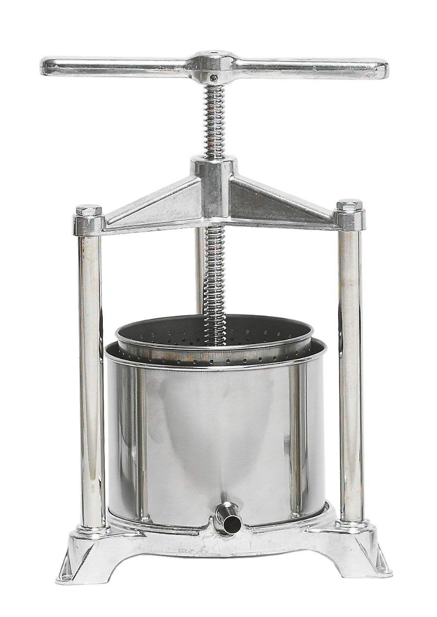 Fruit Press - Italian, 3 Liter, Food-Grade Polished Aluminum with Stainless Steel Press, For Wine and Cider Making