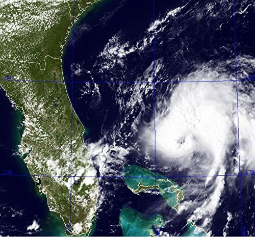 Cropped image of Tropical Storm Bret, exhibiting an eye-feature on July 18th, 2011.