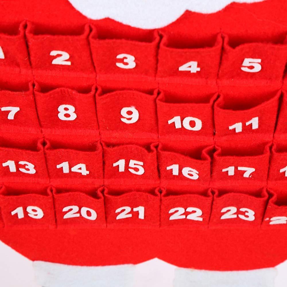 24 Day Red Santa Snowman Elk Hanging Cloth Christmas Ornament for Kids Keepsake Home Office Decoration Santa Christmas Countdown Advent Calendar Maxspace Christmas Advent Calendar