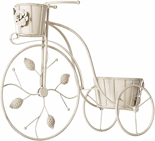 Lola Derek - Macetero bicicleta crema metal jardín 59 x 19 x 47 cm ...