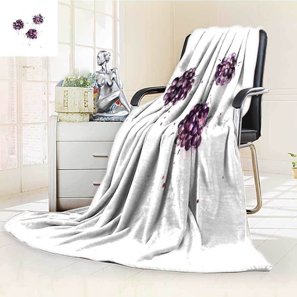 Luxury Double-Sides Reversible Fleece Blanket Mulberry Watercolor Illustration on White Background Couch Blanket,Travelling and Camping Blanket(60''x 50'')