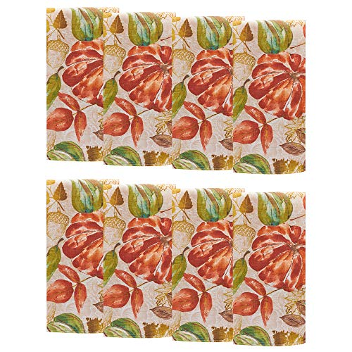 Elrene Home Fashions Gourd Gathering Fall Printed Napkins, Set of 8, 17
