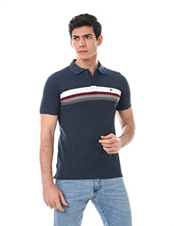 Andora Embroidered Logo Short Sleeves Striped Polo Shirt for Men