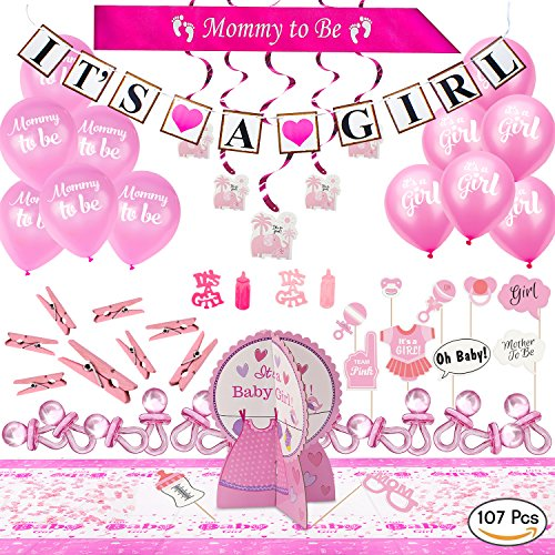 ARTIT Baby Shower Girl Pink Party Decoration Set BIGGEST 107 PCS Bundle Kit Favors - Banner Balloons Mommy to Be Sash Elephant Swirls Big Pacifiers Centerpiece Tablecloth Photo Booth Props ()