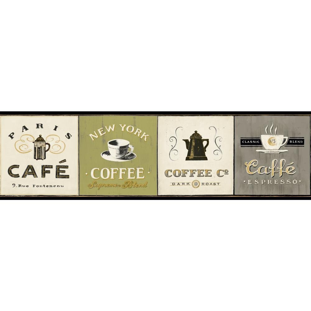 York Wallcoverings American Classics Coffee Signs Border Memo Sample, 8 by 10-Inch, Off White, Steel Grey, Frosty Kiwi Green, Black, Amber