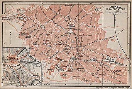 Jerez de la frontera Antiguo Town City Ciudad Plan. España Mapa – 1913 – Old Antique Vintage Map – Juego de funda nórdica S de mapa de España: Amazon.es: Hogar