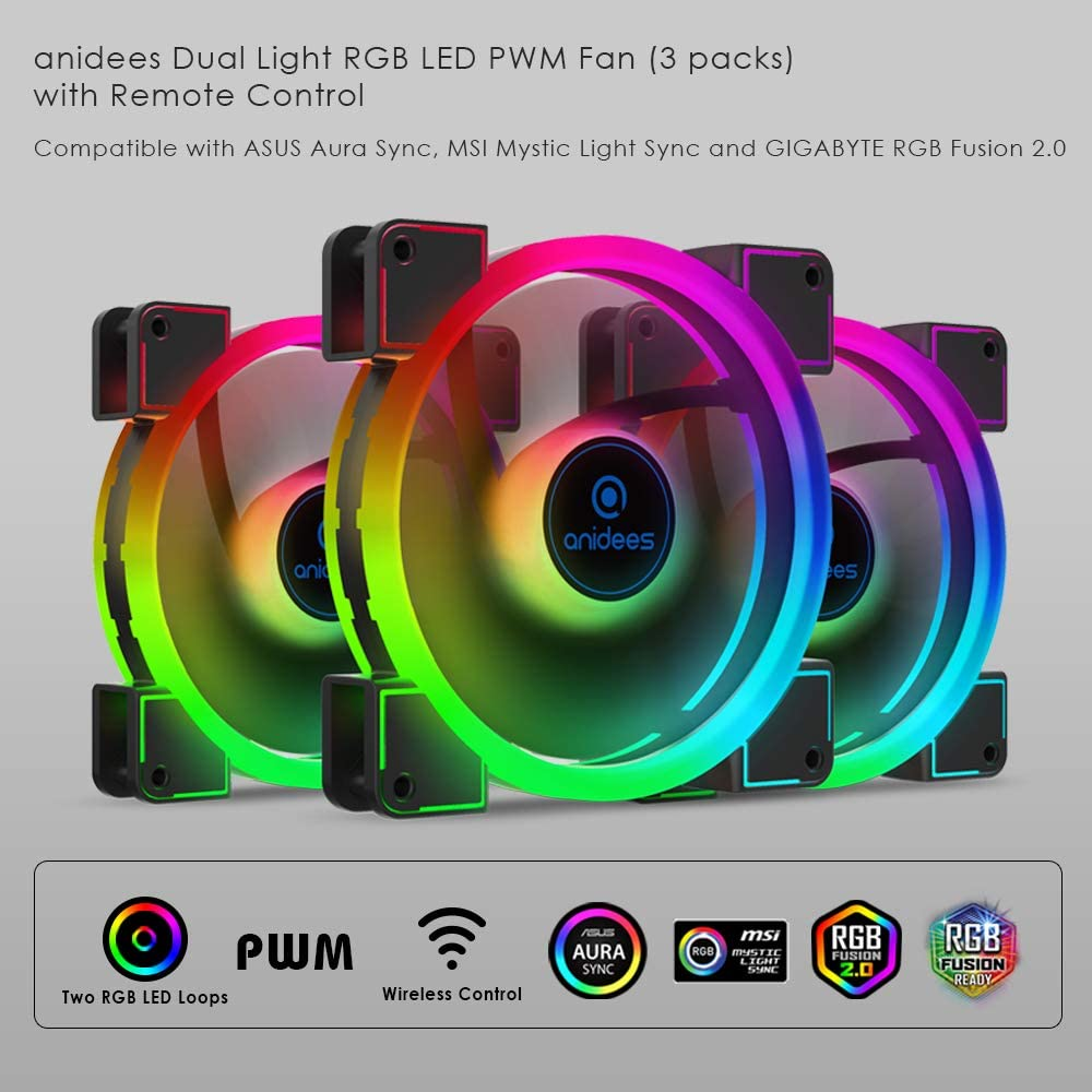 Anidees Ai Aureola Duo 140 Mm 3er Rgb Pwm Dual Light Computer Zubehör