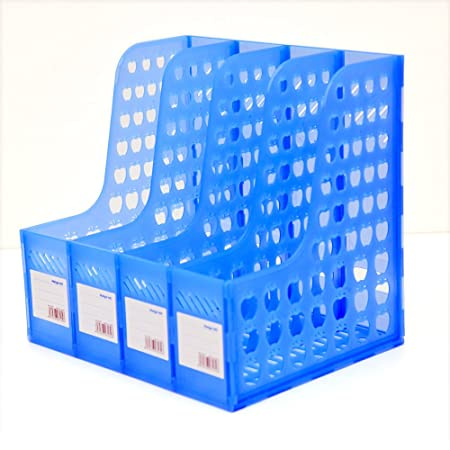DivineXt Multifunction Plastic 4 Sections Divider File Paper Magazine Rack Holder/Hanger/Bookshelf for Home Desktop Book