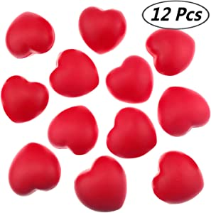 """Akusety 12 Bulk 2.875""""x3"""" Red Heart Stress Balls - Ideal for Valentine's Day or Heart Health"""