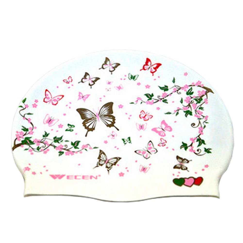 Modische Schmetterling Silikon Badekappe wasserdicht Schwimmen Hut Damen, Weiß Weiß Blancho Bedding