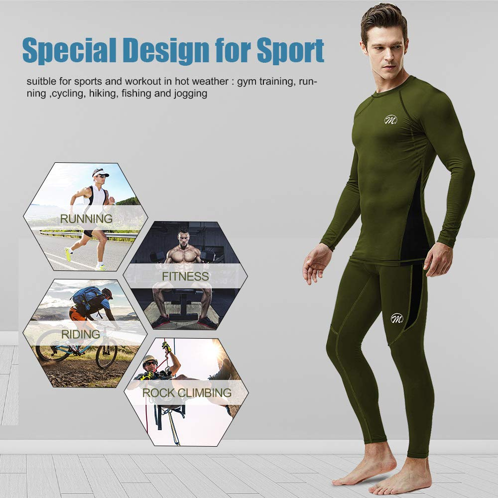 Meetwee Men/'s Compression Set Running Base Layer Long Sleeve Sport Cool Day Gym Fitness Set
