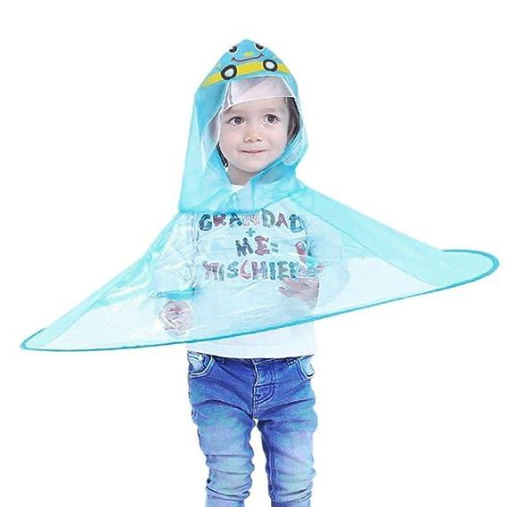 Ropa Impermeable y de Nieve, Lonshell❤️️Chubasquero Niño Impermeable, Diseño de OVNI, Paraguas para niños Sombrero mágico Manos Libres Impermeable ...
