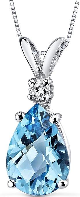 Peora 14K白金 梨形瑞士蓝托帕石镶钻吊坠项链 2.25克拉 $129.99 海淘转运到手约¥902