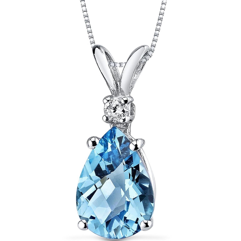 14 Karat White Gold Pear Shape 2.25 Carats Swiss Blue Topaz Diamond Pendant