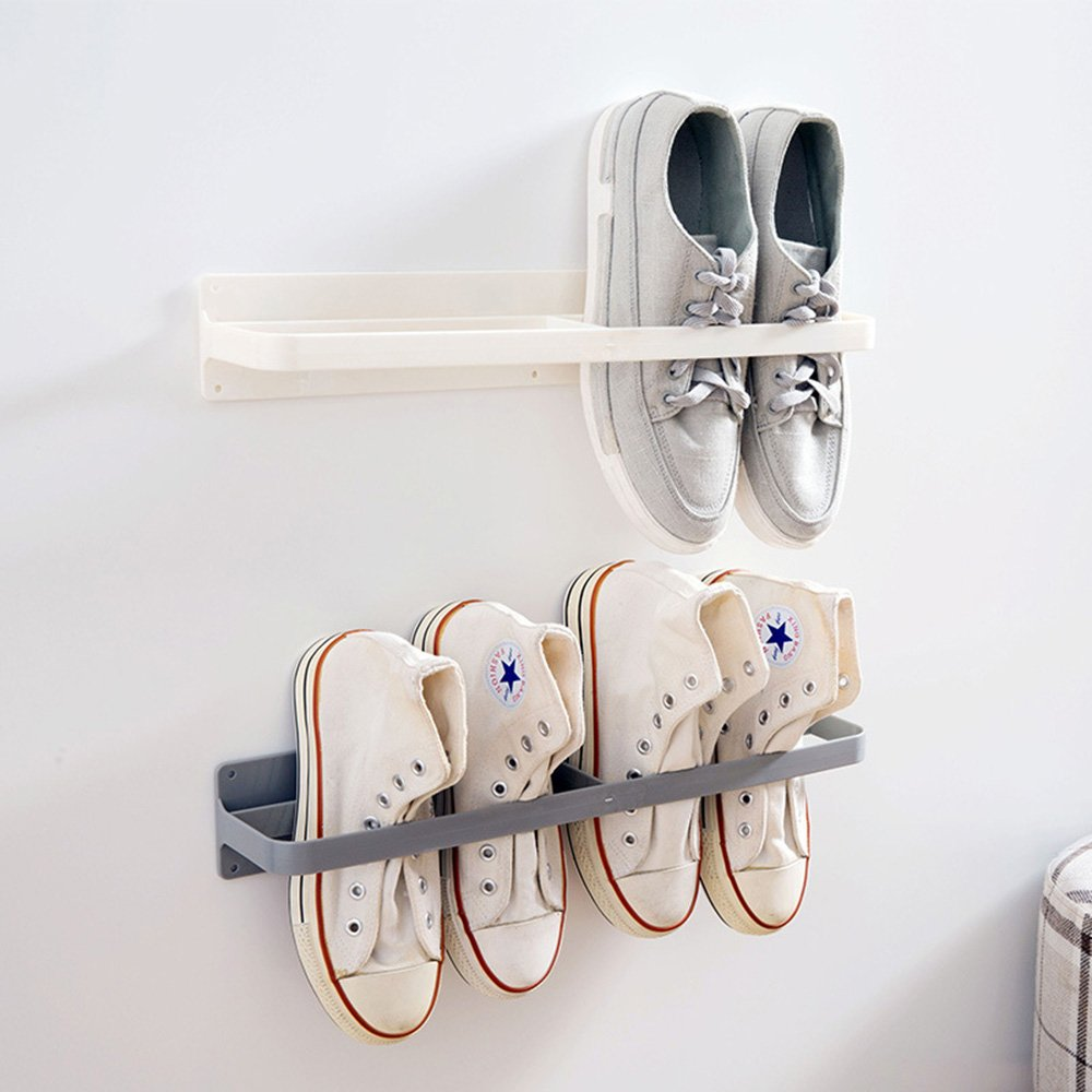 Esdella Shoes Rack Organizer Mounted Wall Storage Shelf Shoe Holder Keeps Any Shoes Off the Floor (Simple-Set of 2)