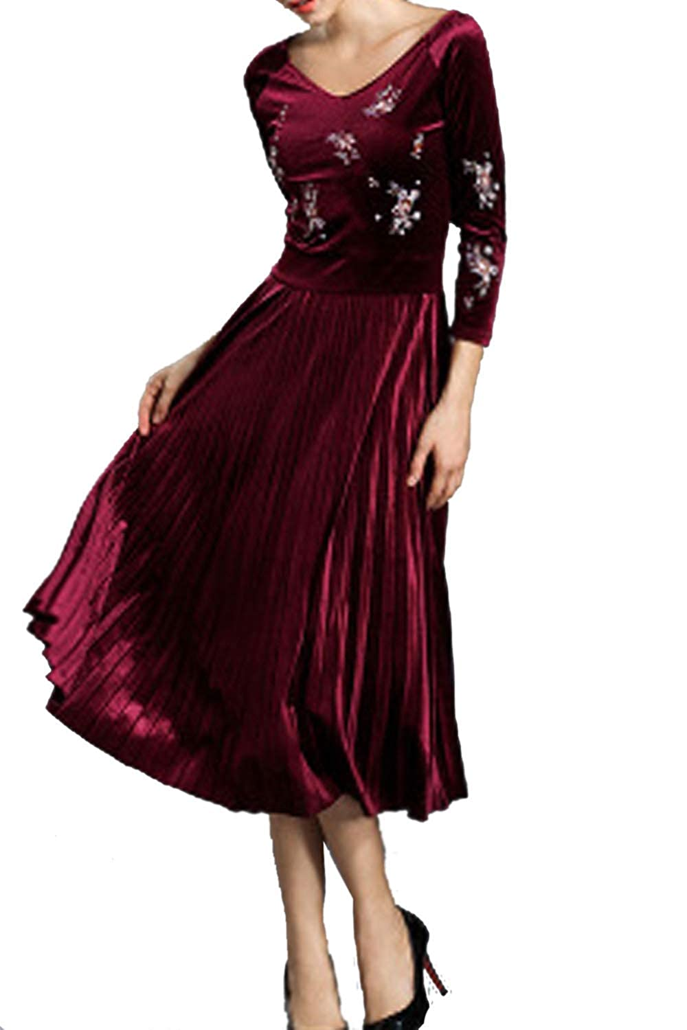 945b5d69f57 Unomatch Women Decorated Bust Pleated Skirt Elegant Dress at Amazon Women s  Clothing store