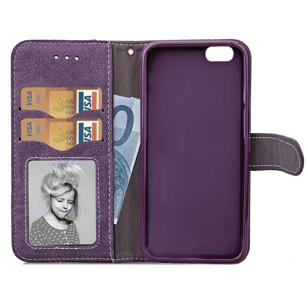 iPhone 6//6s Case i Phone Cases Wallet Leather with Tempered Glass Screen Protector Credit Card Holder Slot Stand Flip Folio Protective Cover for Apple iPhone6 iPhone6s 4.7 inch Purple