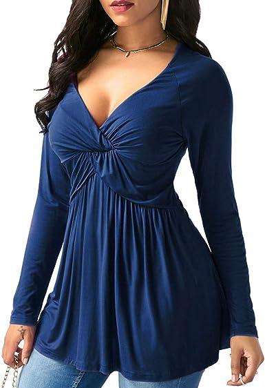 YUFAA Camisa sexy de manga larga con cuello en V y cintura floja para mujeres Camisas tops (Color : Azul, Size : METRO): Amazon.es: Ropa y accesorios