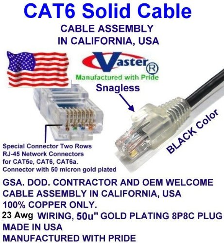Super E cable SKU-81971 - Made in USA – BLACK – 105 FT - UTP Cat.6 Ethernet Patch Cable - UL CMR 23AWG by Vaster