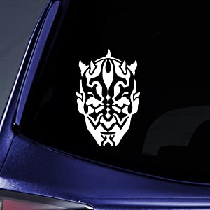 "Bargain Max Decals Devil Head Silhouette Sticker Decal Notebook Car Laptop 5.5"" (White)"