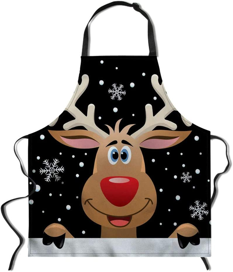 Stylist Apron Funny Baking Apron Xmas Aprons Christmas Reindeer Printing Novelty Cooking Chef Gift For Men Women Bbq Grilling Kitchen Apron